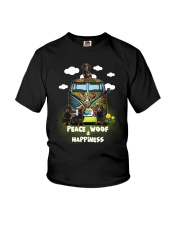 Dachshund Peace Woof Happiness Youth T-Shirt thumbnail