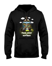 Dachshund Peace Woof Happiness Hooded Sweatshirt thumbnail
