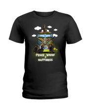 Dachshund Peace Woof Happiness Ladies T-Shirt thumbnail