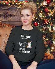 All I Need is Jesus and Unicorn 2610 Crewneck Sweatshirt lifestyle-holiday-sweater-front-2