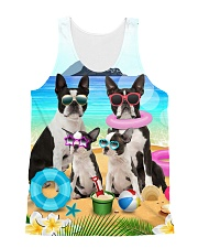 Boston terrier family on the beach 1606D All-over Unisex Tank front