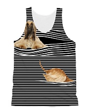 Afghan Hound Striped All-over Unisex Tank front