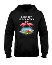Flamingo Calm Flock Down  Hooded Sweatshirt thumbnail