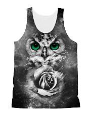 Owl Black Rose 0706 All-over Unisex Tank front