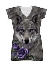 Wolf Purple Flowers 1406 All-over Dress thumbnail