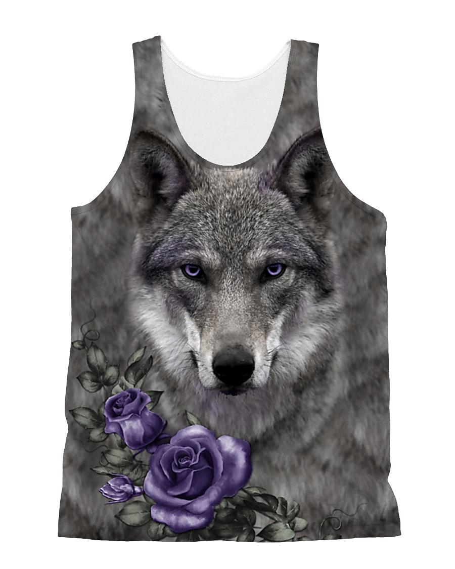 Wolf Purple Flowers 1406 All-over Unisex Tank