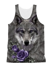 Wolf Purple Flowers 1406 All-over Unisex Tank front