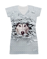 Siberian Husky Broken 1606 All-Over Dress tile