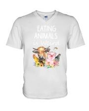 Vegan animal V-Neck T-Shirt thumbnail
