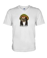 Rasta Pug V-Neck T-Shirt thumbnail