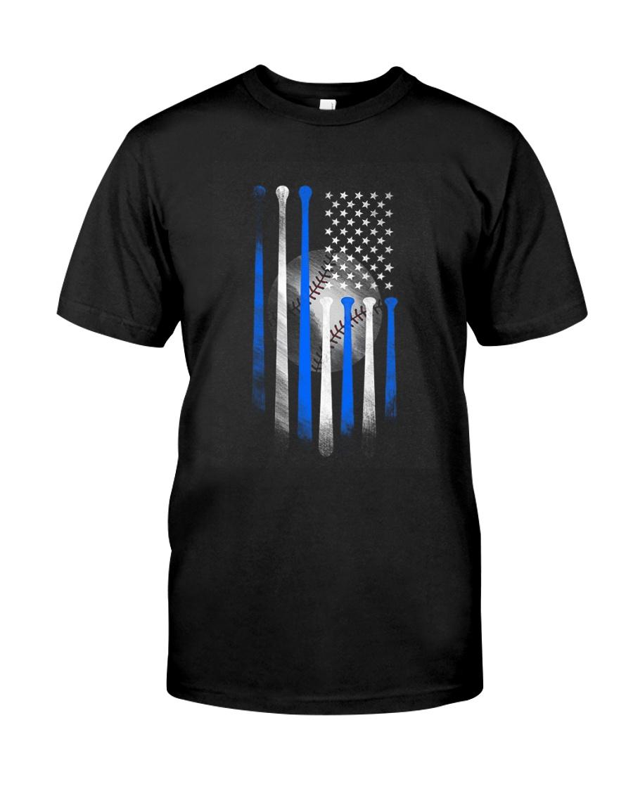 AMERICAN FLAG VINTAGE BASEBALL FLAG DAD MOM Classic T-Shirt