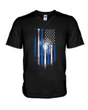 AMERICAN FLAG VINTAGE BASEBALL FLAG DAD MOM V-Neck T-Shirt thumbnail