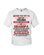 MESS WITH ME - TO GRANDSON FROM GRANDPA Youth T-Shirt front