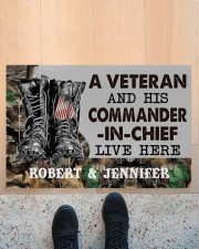 """A VETERAN AND HIS COMMANDER-IN-CHIEF LIVE HERE Doormat 22.5"""" x 15""""  aos-doormat-22-5x15-lifestyle-front-10"""
