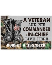 """A VETERAN AND HIS COMMANDER-IN-CHIEF LIVE HERE Doormat 22.5"""" x 15""""  front"""