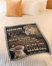 """BELIEVE IN YOURSELF - GIFT FOR GRANDSON Small Fleece Blanket - 30"""" x 40"""" aos-coral-fleece-blanket-30x40-lifestyle-front-01a"""