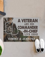 "A VETERAN AND HIS COMMANDER-IN-CHIEF LIVE HERE Doormat 22.5"" x 15""  aos-doormat-22-5x15-lifestyle-front-07"