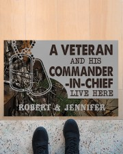"A VETERAN AND HIS COMMANDER-IN-CHIEF LIVE HERE Doormat 22.5"" x 15""  aos-doormat-22-5x15-lifestyle-front-10"