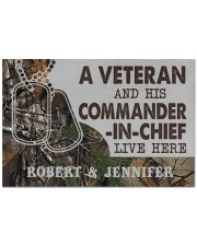 "A VETERAN AND HIS COMMANDER-IN-CHIEF LIVE HERE Doormat 22.5"" x 15""  front"