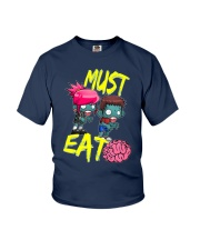 Must Eat Brains Zombies Youth T-Shirt front