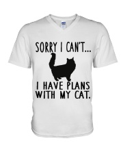 Sorry I Cant I Have Plans with My Cat V-Neck T-Shirt thumbnail