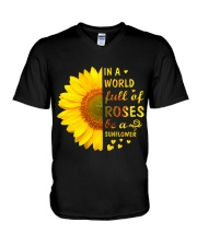 In a Wold full of Roses be a Sunflower V-Neck T-Shirt thumbnail