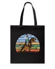 Jesus Riding Dinosaur Tote Bag front