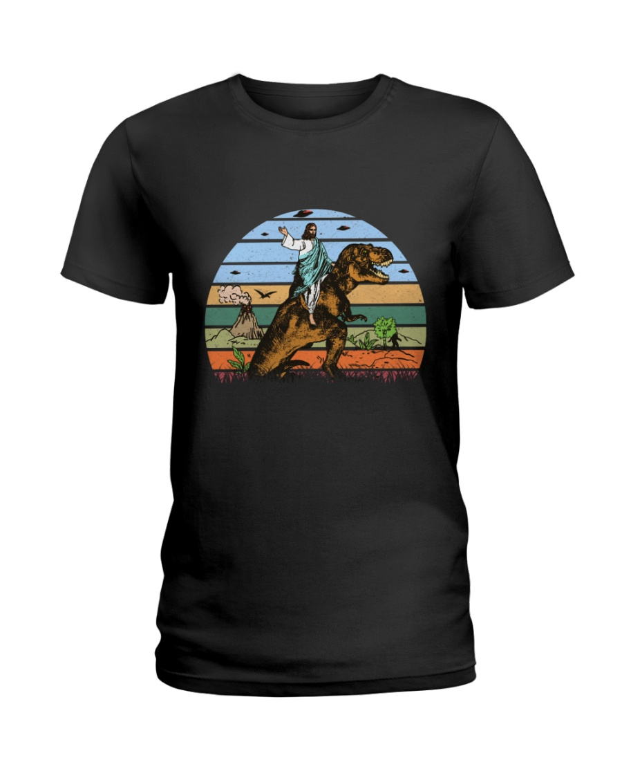 Jesus Riding Dinosaur Ladies T-Shirt