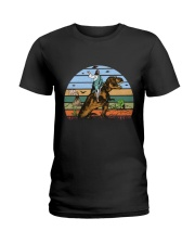 Jesus Riding Dinosaur Ladies T-Shirt thumbnail