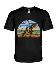 Jesus Riding Dinosaur V-Neck T-Shirt thumbnail