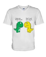 Funny Dinosaur - I Love You This Much V-Neck T-Shirt thumbnail