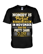 Born in November V-Neck T-Shirt thumbnail