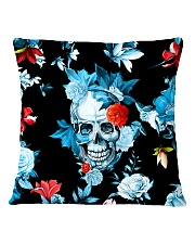 Floral Skull Decorative Throw Pillow Square Pillowcase back