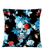 Floral Skull Decorative Throw Pillow Square Pillowcase front