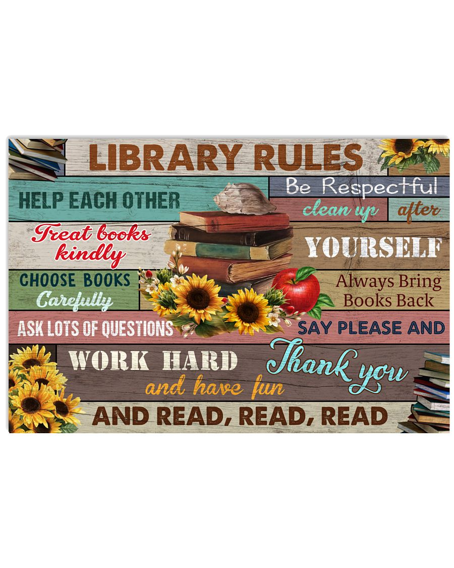 Library Rules 17x11 Poster