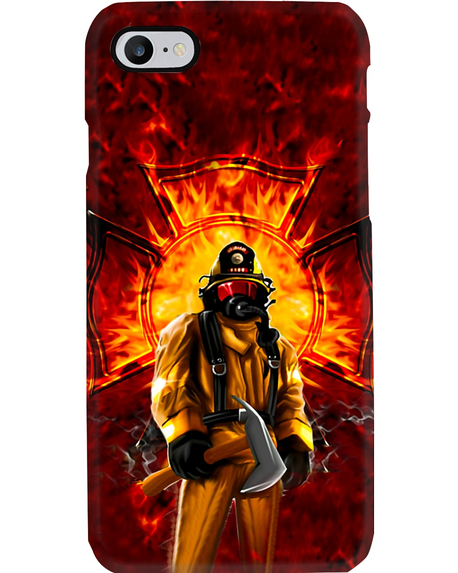 Firefighter Standing On Fire Phone Case