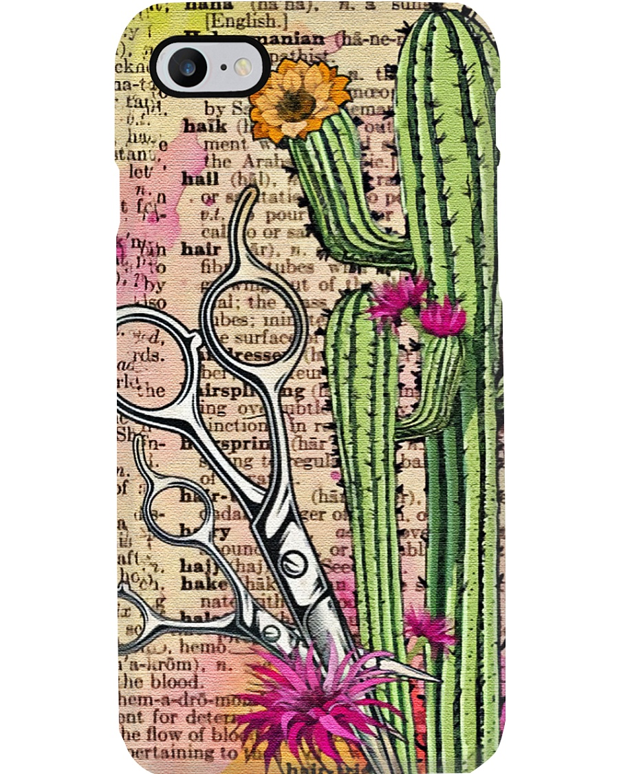 Art Cactus And Scissors Hairdresser  Phone Case