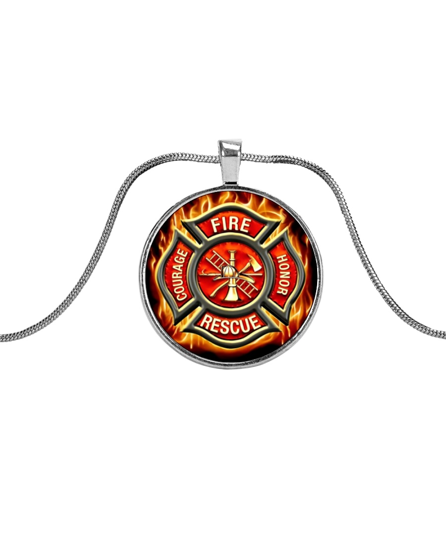 Firefighter Proud Metallic Circle Necklace