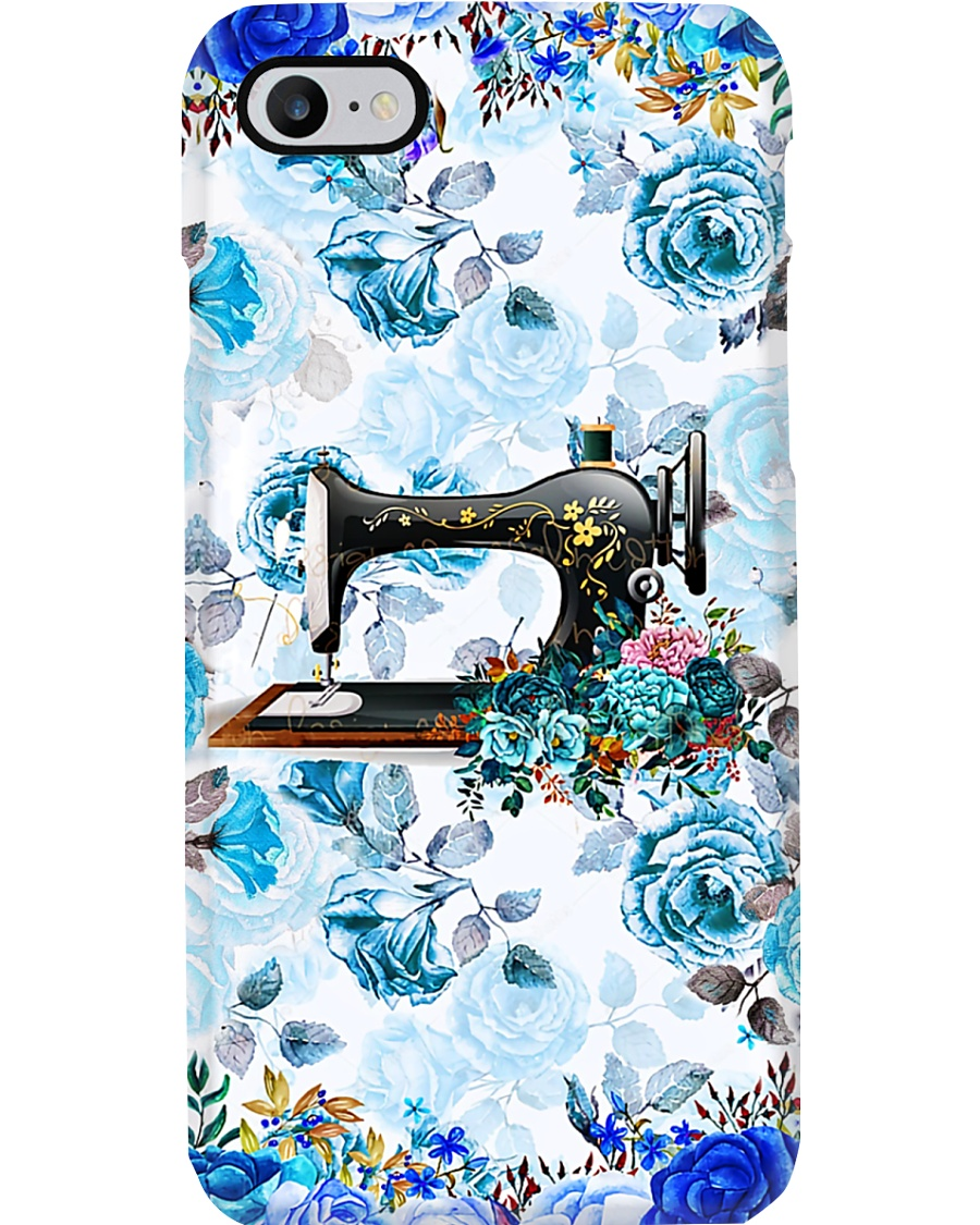 Blue Floral Sewing Machine Phone Case