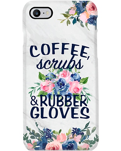 Medical Assistant - Coffee Scrubs and Rubber glove