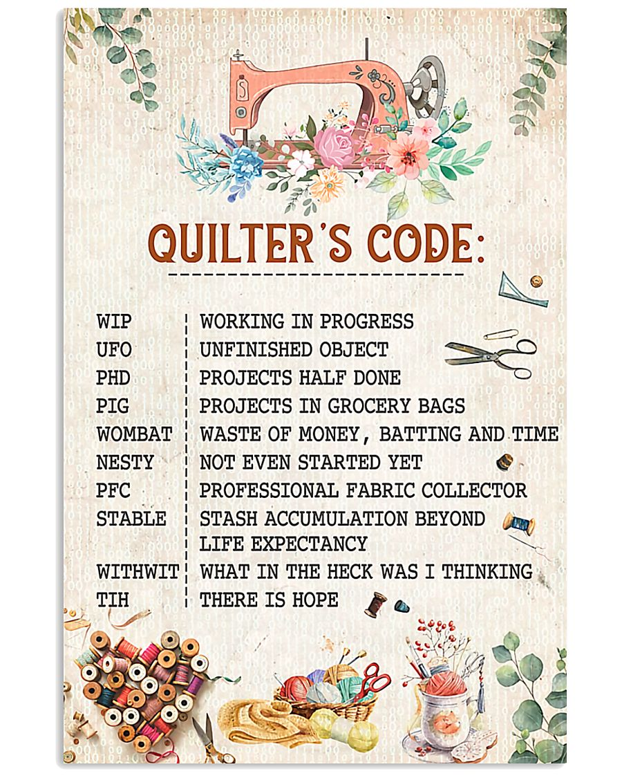 Quilter's Code Sewing 11x17 Poster