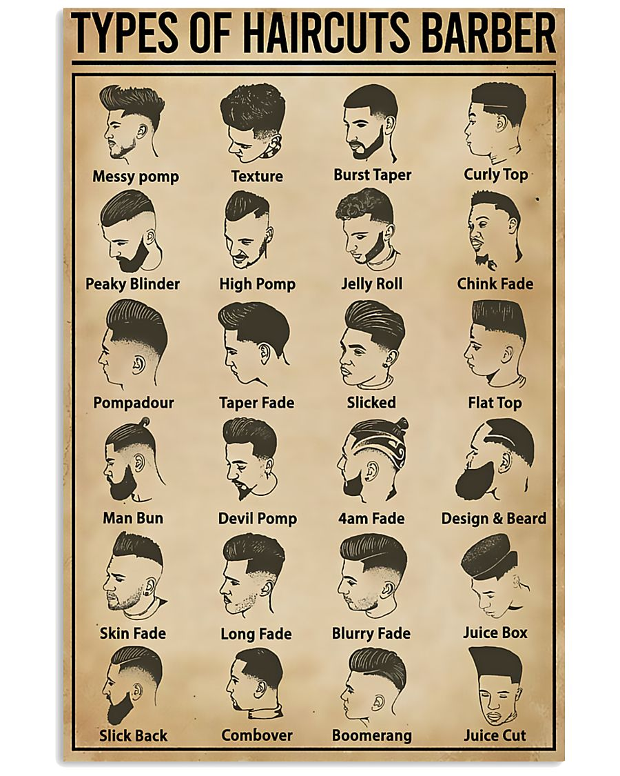 Types Of Haircuts Barber Hairdresser 11x17 Poster