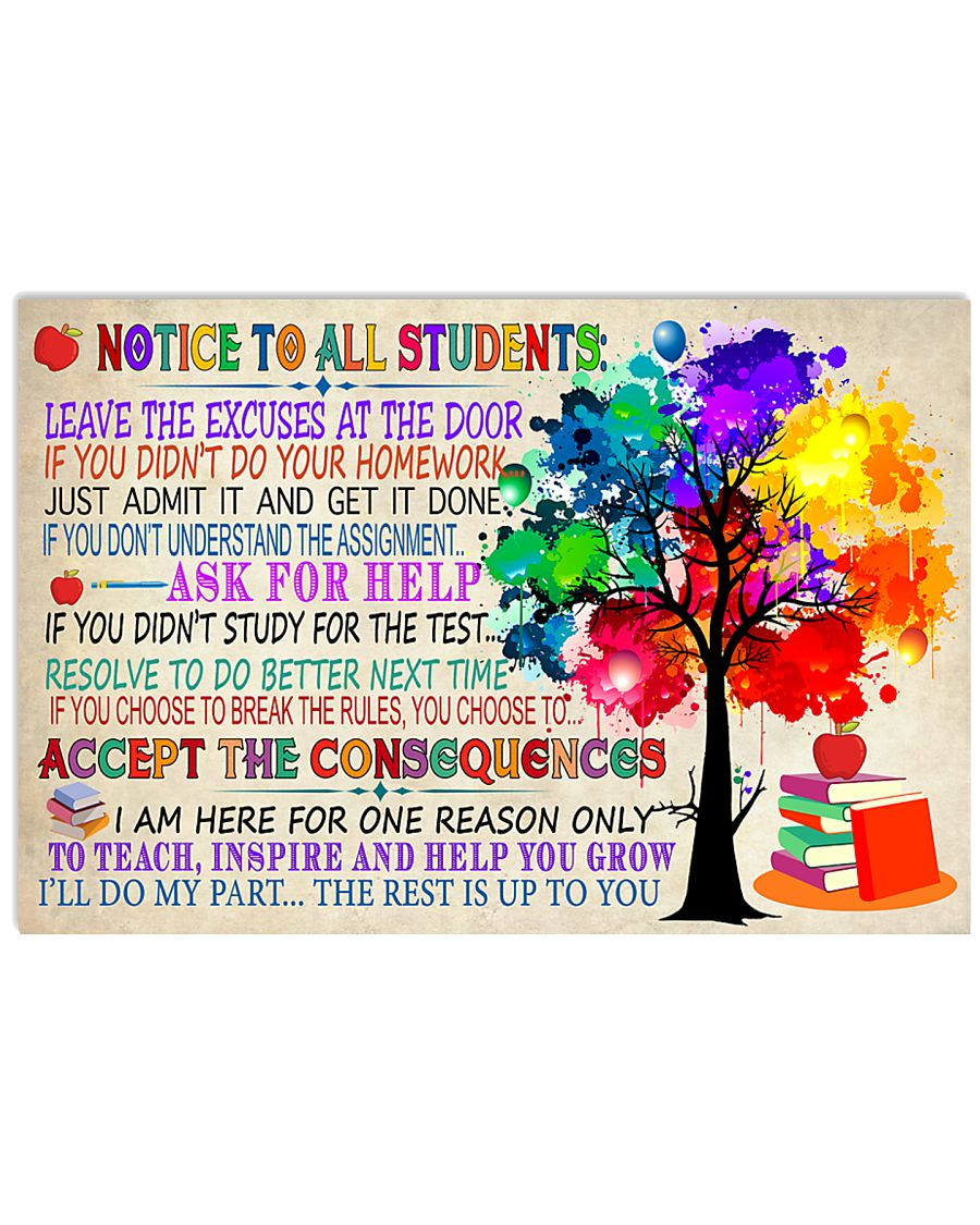 Teacher Notice To all Students 17x11 Poster