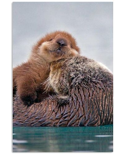 Hugging Otters Poster