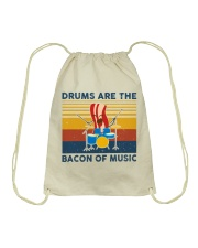 Drummer- Drums Are The Bacon Of Music Drawstring Bag thumbnail