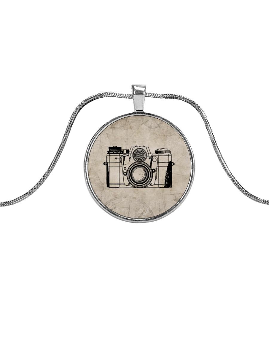 Vintage Camera Photography Metallic Circle Necklace