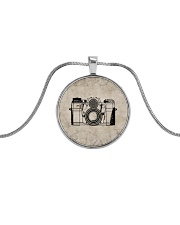 Vintage Camera Photography Metallic Circle Necklace front