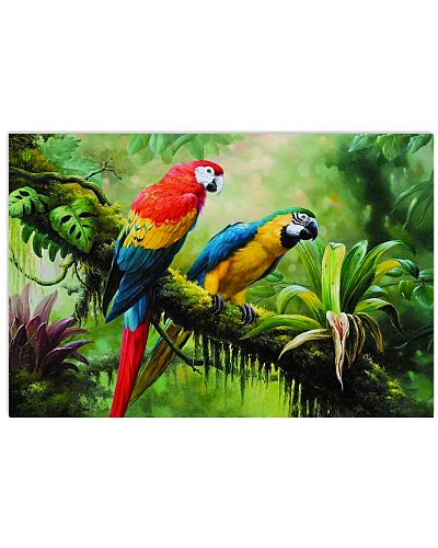 Two Colorful Parrots In Tropical Forest