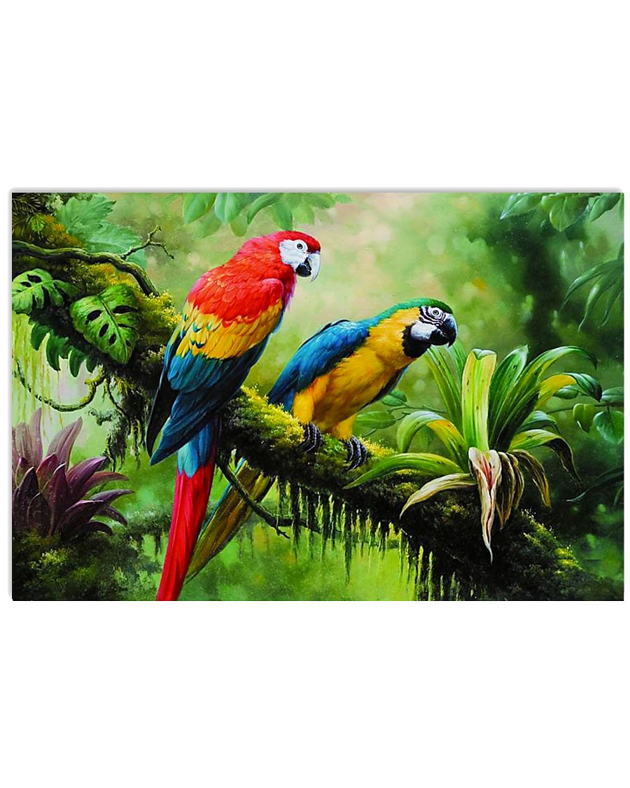Two Colorful Parrots In Tropical Forest 17x11 Poster