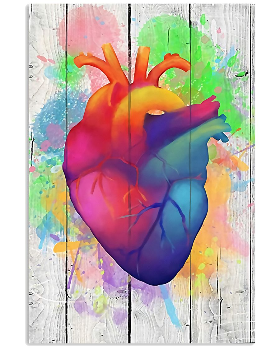 Colorful Heart Anatomy Canvas Cardiologist 11x17 Poster